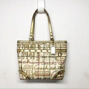 Vintage Coach Tattersall Graffiti Gold Tote Bag